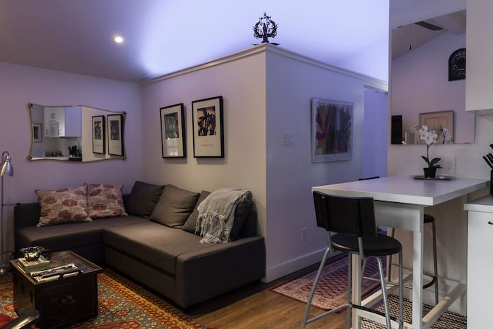 Living area different lighting.