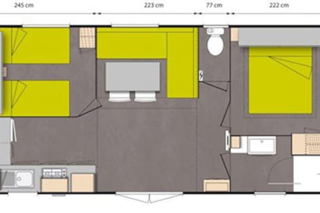 plan du mobil home confort 2 chambres