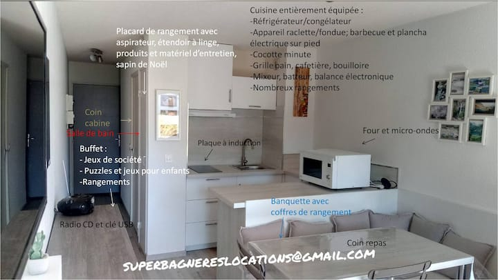 Studio cabine rénové - 5 personnes - Superbagnères