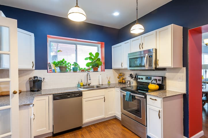 Full kitchen perfect for cooking up large meals or enjoying a cup of coffee in the morning from the Keurig