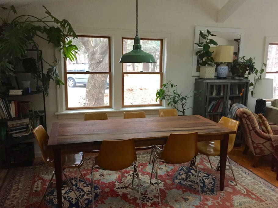 Dining table easily seats 8