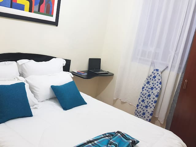 Enjoy a private bedroom. Incredibly comfortable bed with clean, fresh sheets and duvet plus a private work space.