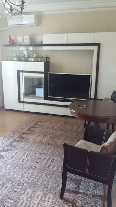 Living room with plasma TV and sofa which transforms into double bed.