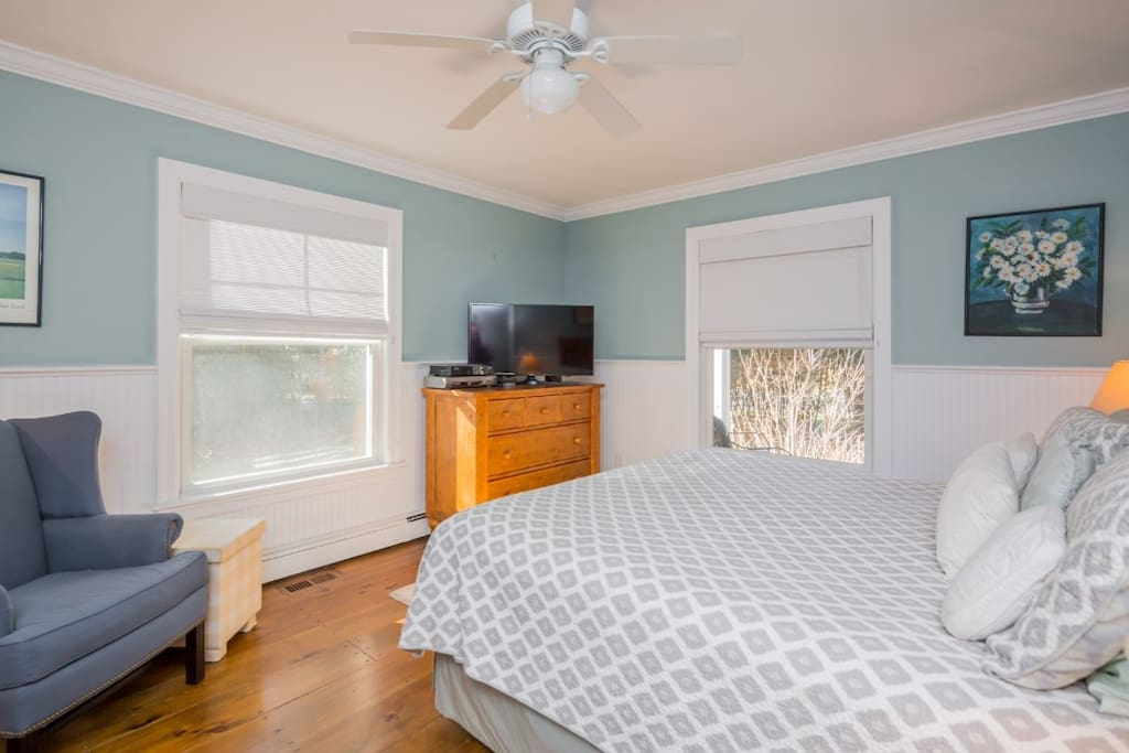 full sunny master suite with ceiling fan, walk-in closet, dressers and flat screen tv