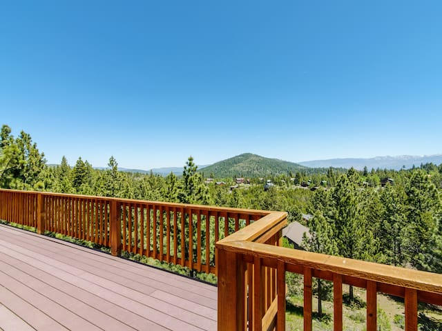 Huge wraparound decks on 2 levels allow you to take in the spectacular mountain views from your perch above the tree line.