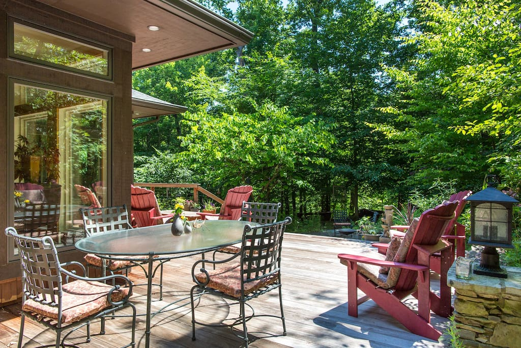 Back deck overlooking private woods
