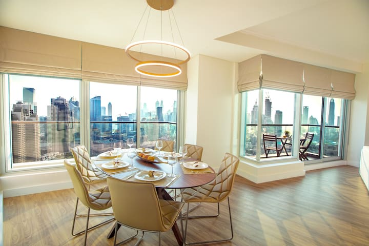Dining area with a panoramic view