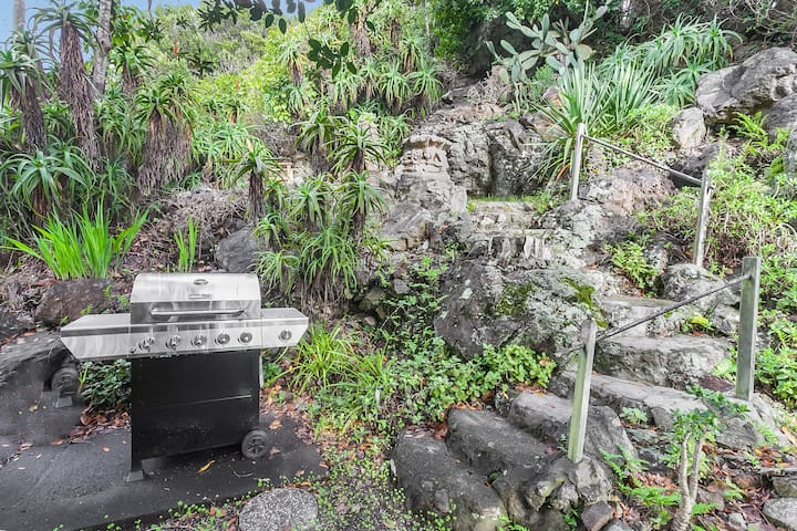 Gas grill on the hillside paths.