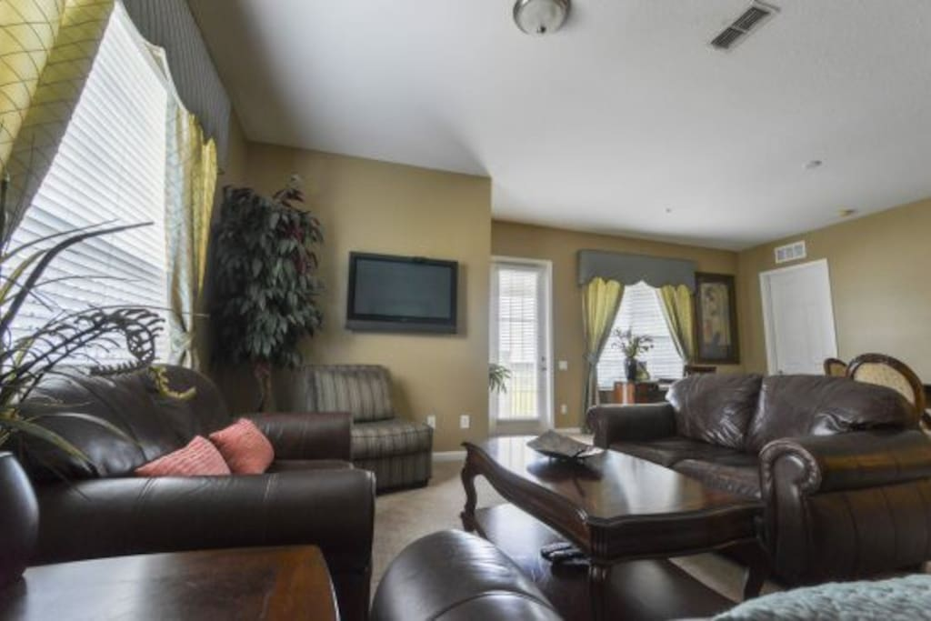 Family Room Offers Plenty of Seating, Sofa and Two Love Seats-  Queen Sofa Sleeper