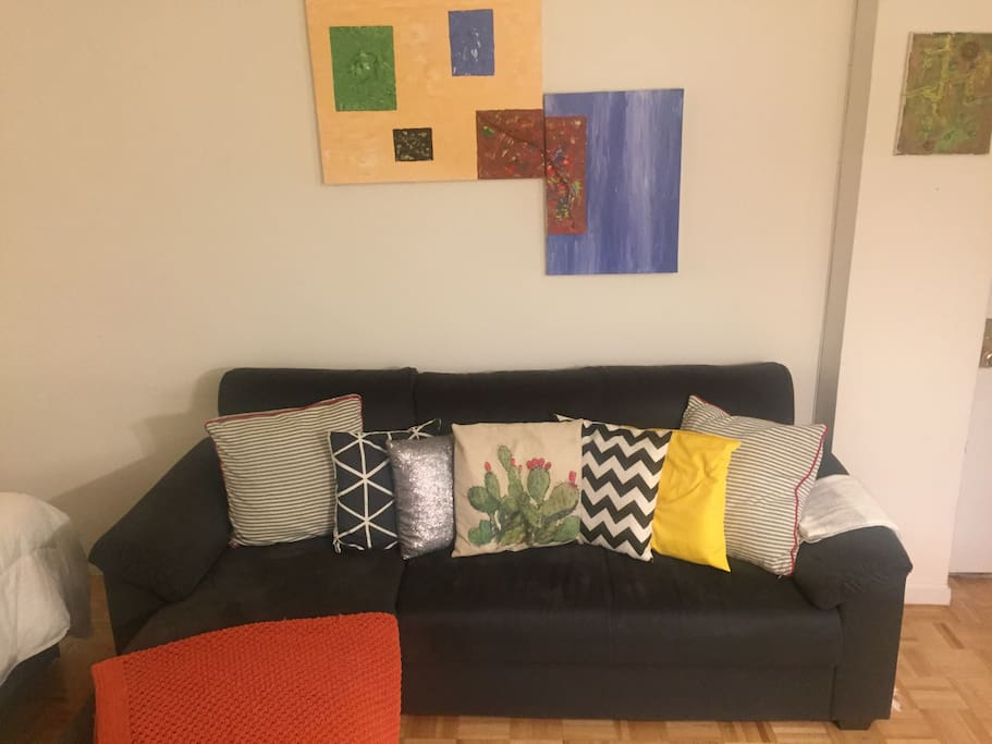 L-shape couch, original paintings