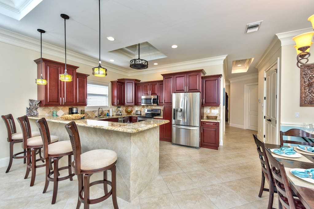 Fully Stocked Kitchen with All New Appliances; Dining and Bar Stool Seating!