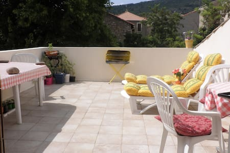 Sunny roof terrace house in rural village - Causses-et-Veyran - Casa