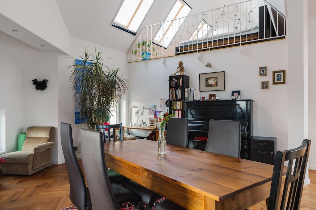 dining area and mezzanine bedroom