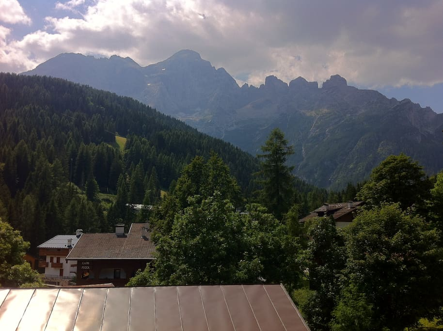 view of Mount Civetta from balcony in summer