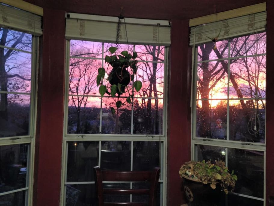 A view of the sunset from the kitchen.