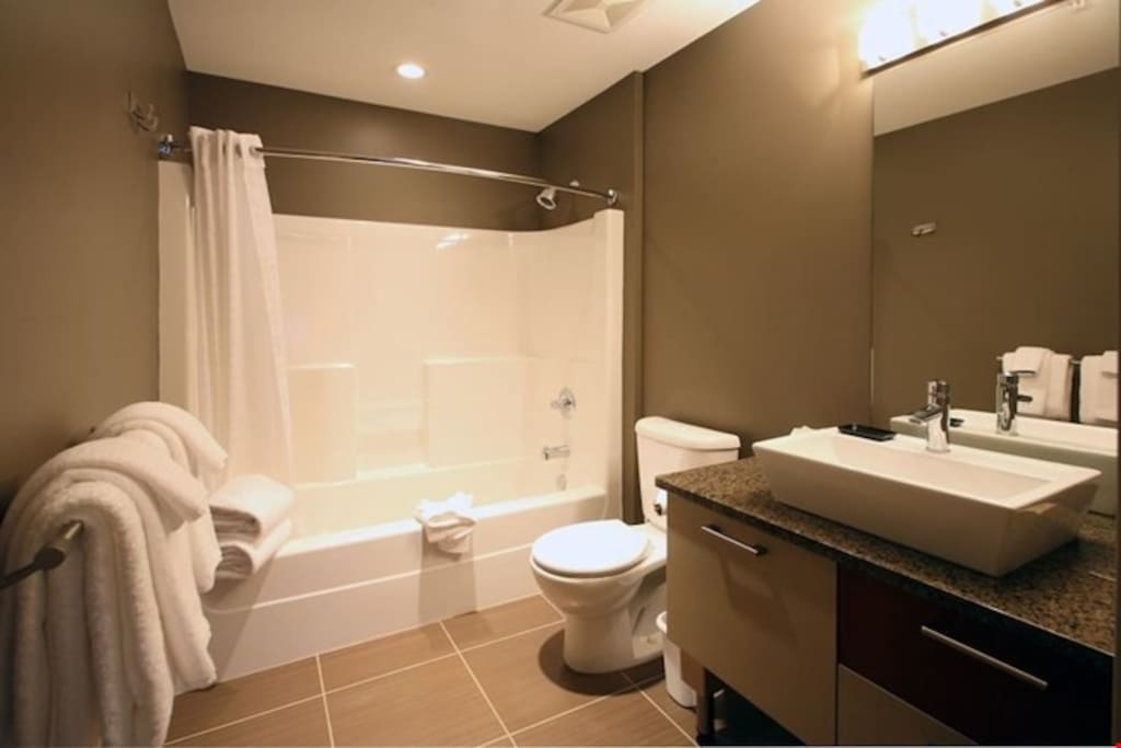 Freshen up in the modern and spacious bathroom, complete with hairdryer, vanity, shower-tub combination and toilet.