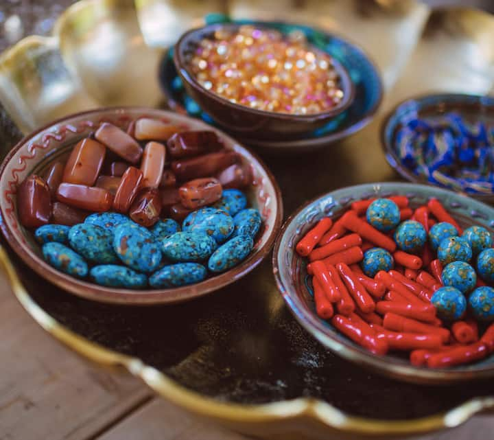 Crystal, semi-precious, & vintage beads