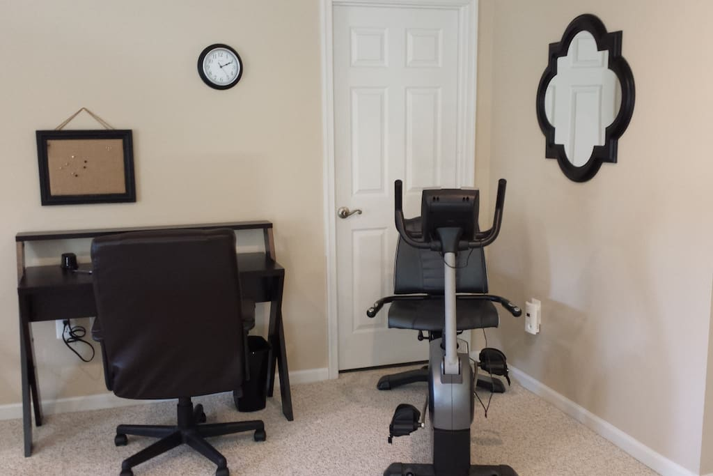 Work desk and exercise bike