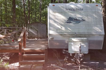 Camper in the Pocono in a gated campground.