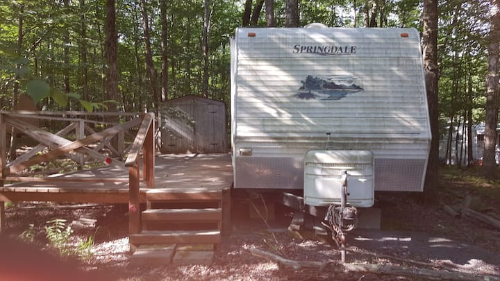Camper in the Pocono in a gated campground.