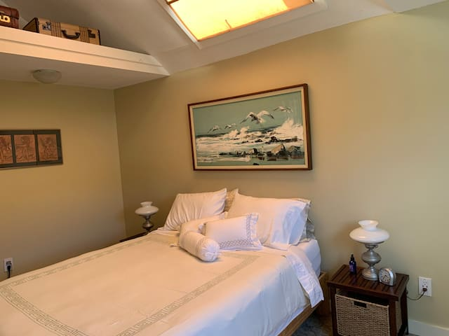 Claim the master bedroom with bathroom.