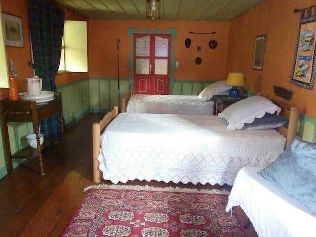 chambre pour deux avec lits individuels avec possibilité d' un troisiėme lit aditional