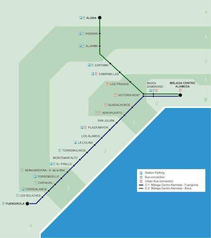 Línea Tren Cercanias Málaga- Fuengirola / Málaga-Fuengirola Metro Map