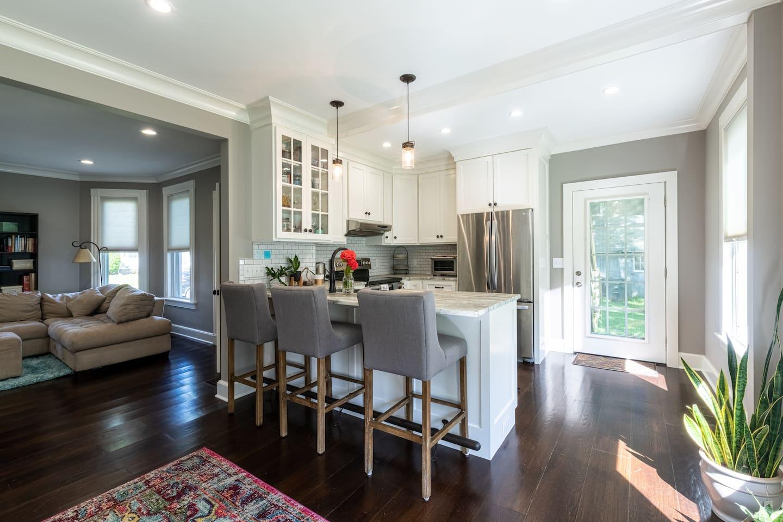 new kitchen, quartzite counters, stainless steel appliances, farmhouse sink
