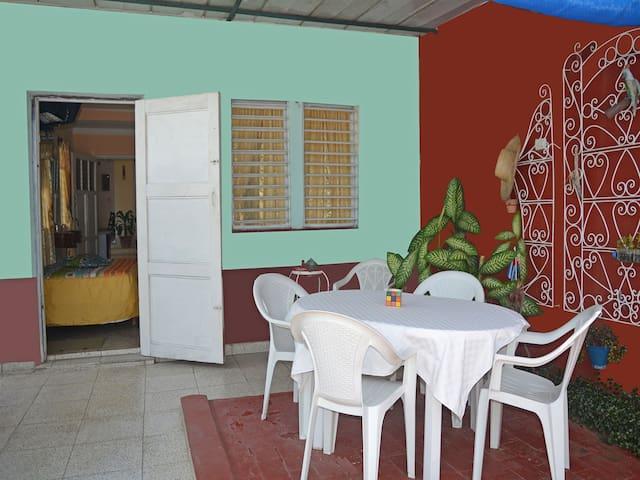 amplia terraza con uso solo para los huespedes, independiente, tranquila, con zona techada y al aire libre y en contacto con la naturaleza(plantas ornamentales)
