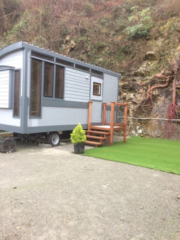 Private yet central custom guest cabin on wheels