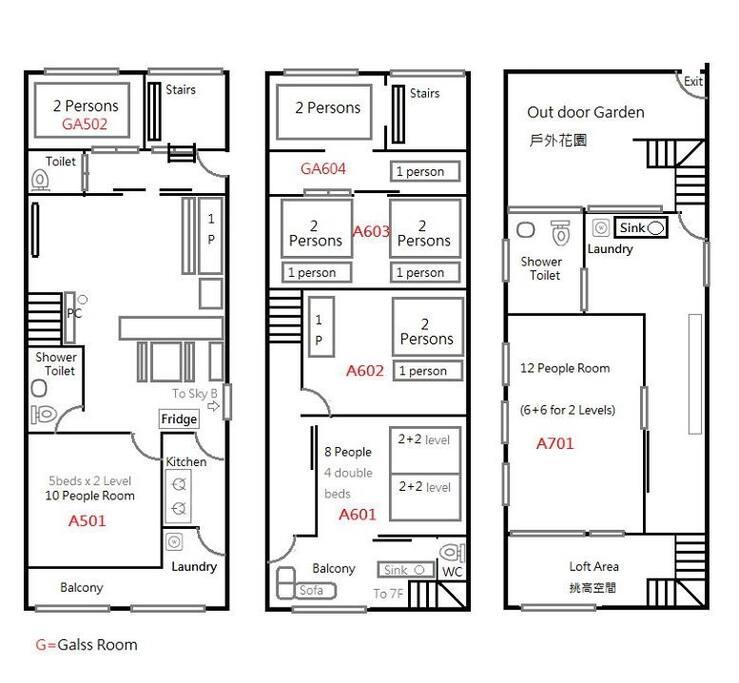 一層兩戶相通,A互有3層樓.B戶有2層樓,裡面一共有5間公寓10間房屋可以使用.