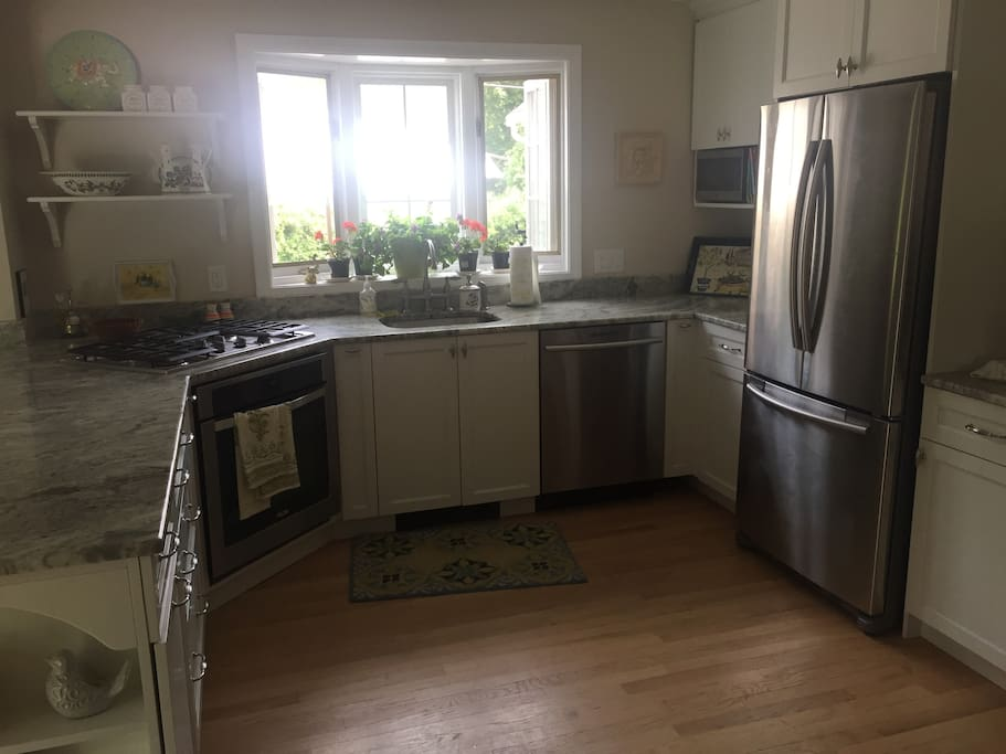 New kitchen with marble countertops