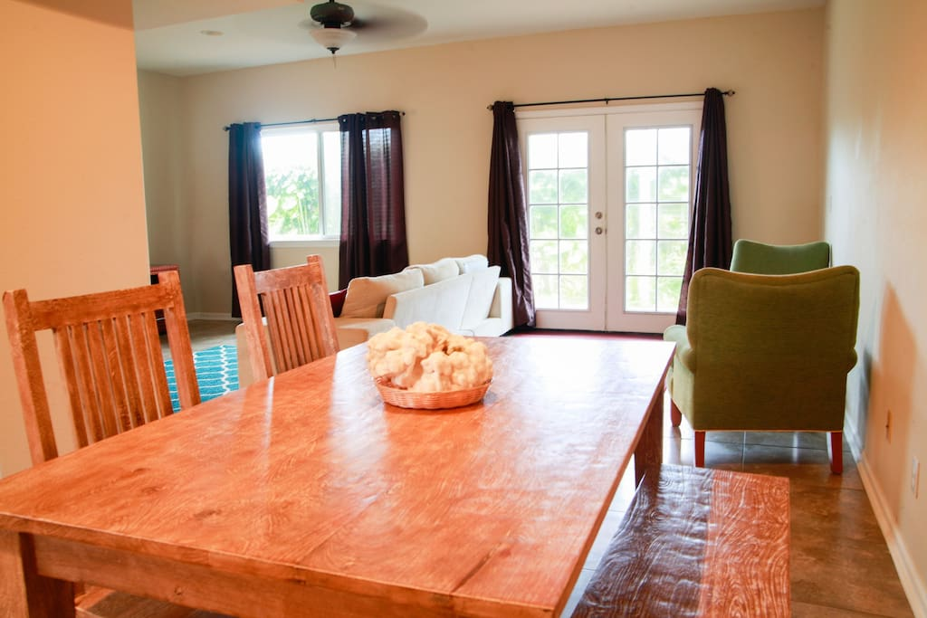 Enjoy eating together as a group at this comfortable dining area