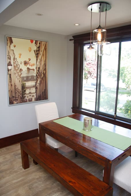 The dinning room table comfortable sits 6 OR can extend for additional room if needed.