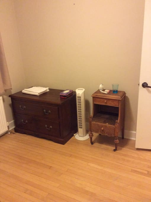 2-drawer chest, antique washstand, tower fan