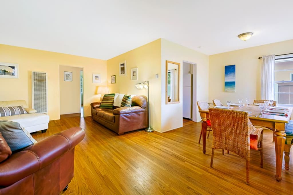 Living and Dining areas of sunny, cheerful Great Room.