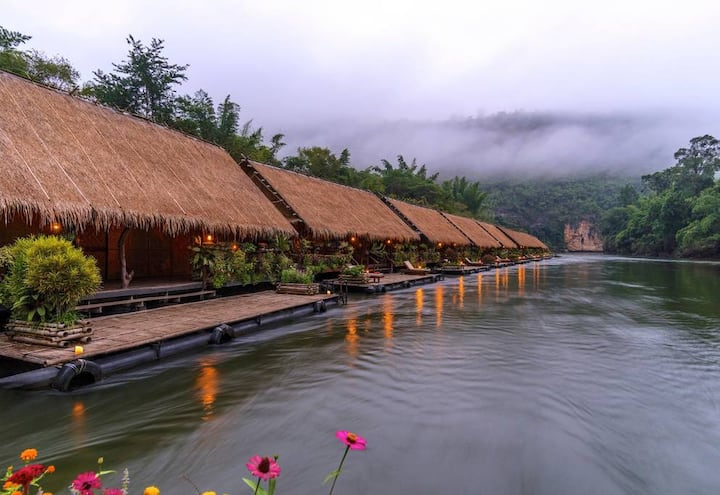 Eco Floating Bamboo Raft on River Kwai