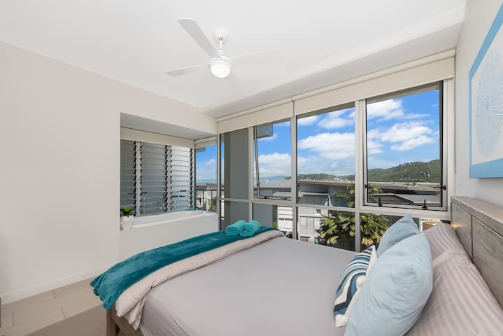 Master Bedroom with Ocean and Mountain Views