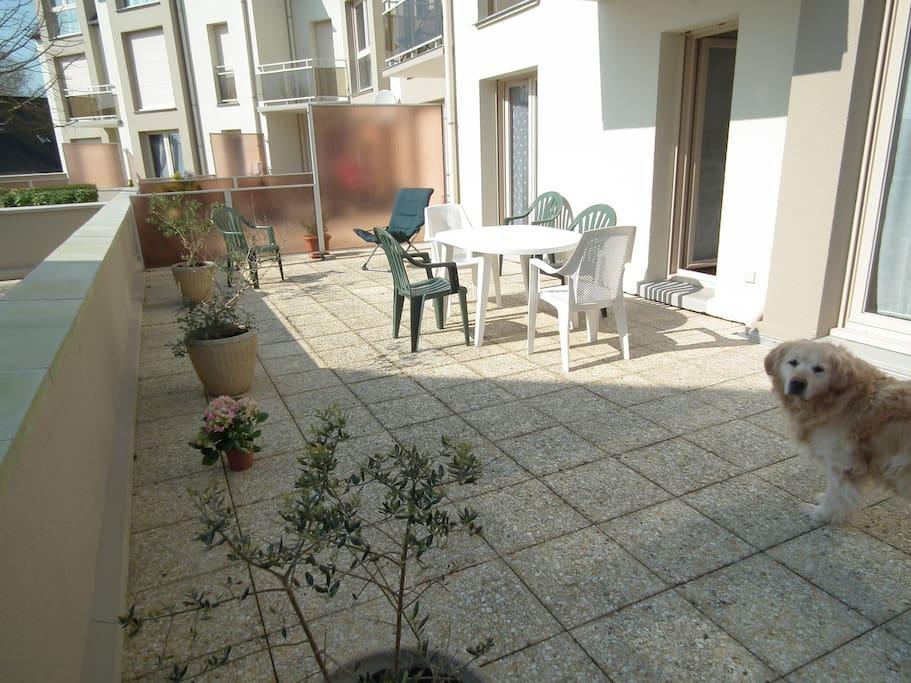 terrasse privative  orientée sud avec mobilier de plein air et parasol