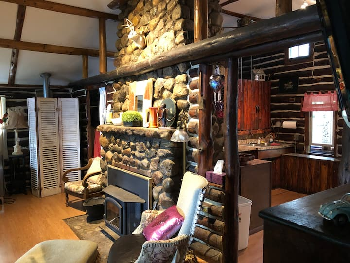 """Log cabin on a Big Lake """"L"""" with a stone fireplace"""