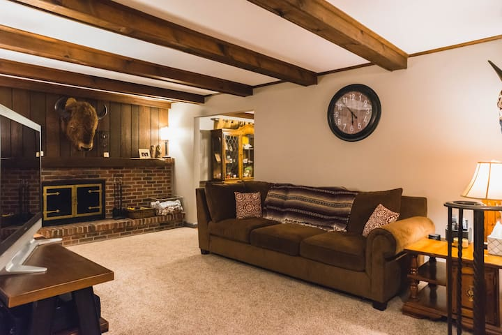 """Living Room area you are free to use with a 50"""" Plasma TV with XFinity/Netflix/YouTube. We can make a fire for you as well if you'd like!"""