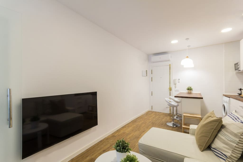 Living Room with Queen sofa bed and 55 inch Smart TV with Netflix