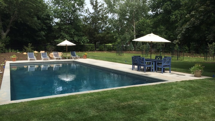 New Listing: Updated Kitchen and Bathrooms, Heated Gunite Pool, TV Area and Workspace, Short Drive to Noyac Bay and Long Beach