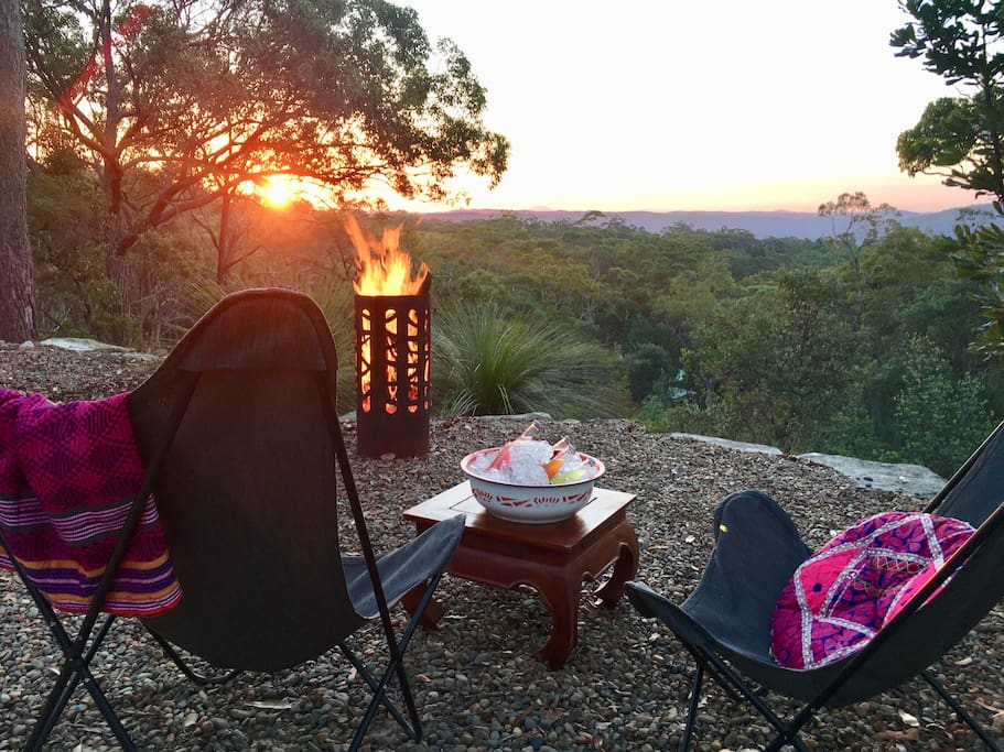 Switch off, enjoy a sunset fire pit at our private lookout!