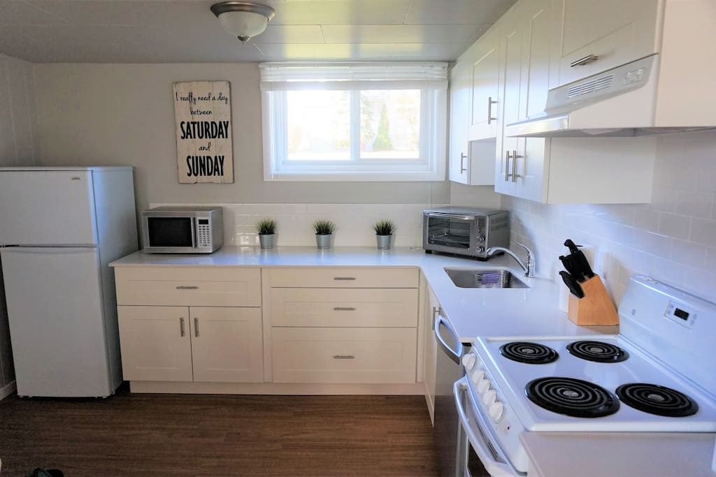 Kitchen is fully equipped for all your needs with your cookery and new appliances.