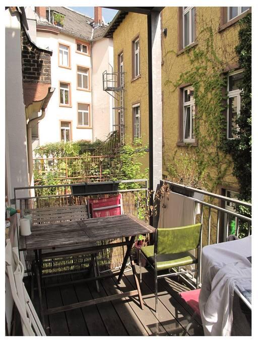 Balcony. View is on the backyard