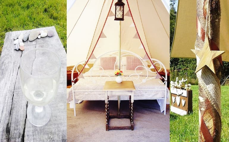 Rural bell tent glamping, 15 mins drive to beach!