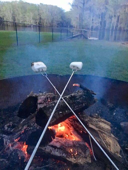 Nothing like roasting marshmallows over the fire making warm S'mores. The memories last forever.