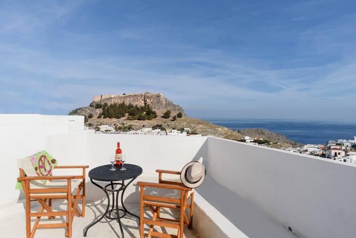 Spacious Lindian Suite with Panoramic Sea Vies