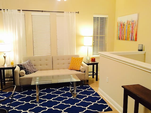 Living room has pull-out bed for additional sleeping space